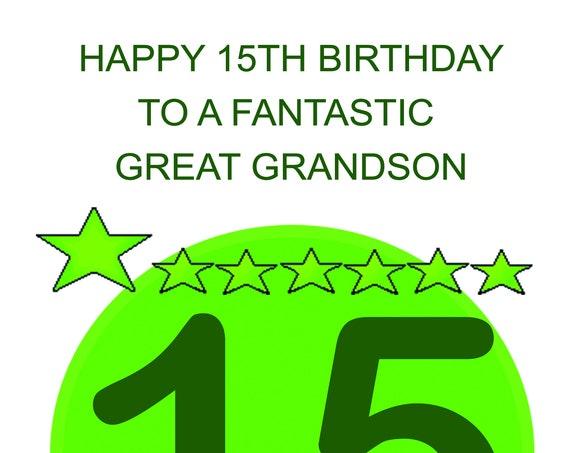 Great Grandson 15th Birthday Card