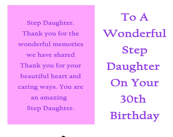 Step Daughter 30 Birthday Card With Removable Laminate