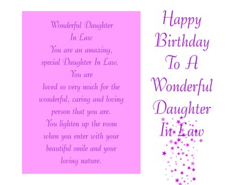 Daughter In Law Birthday Card With Removable Laminate