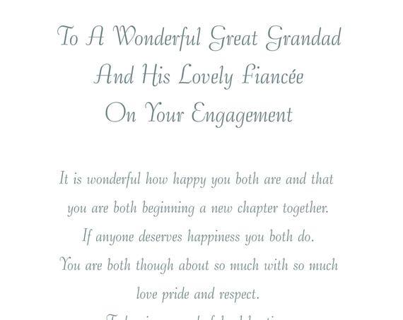 Great Grandad & Fiancee Engagement Card