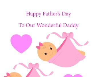 Daddy Bump Twin Girls Fathers Day Card