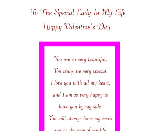 Special Lady In My Life Valentine's Card with removable laminate