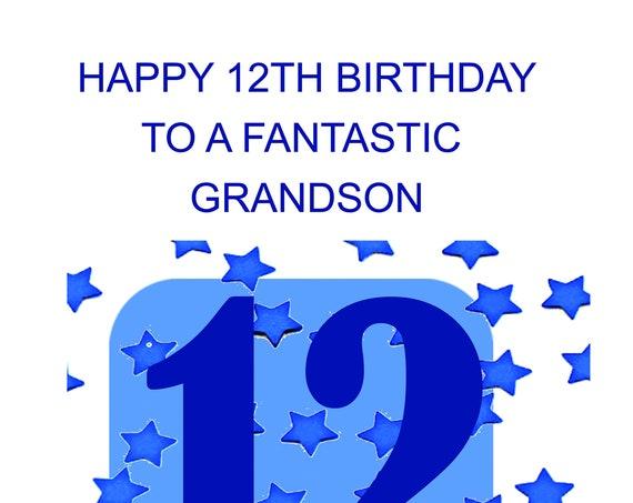 Grandson 12th Birthday Card