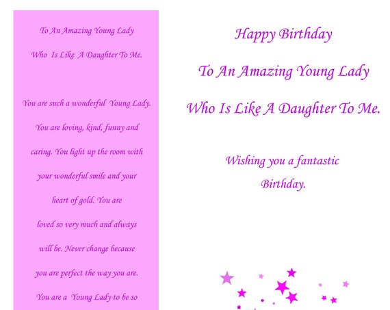 Like a Daughter Birthday Card (with removable laminate bookmark)
