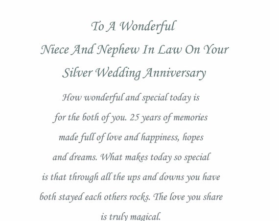 Niece & Nephew in Law Silver Anniversary Card