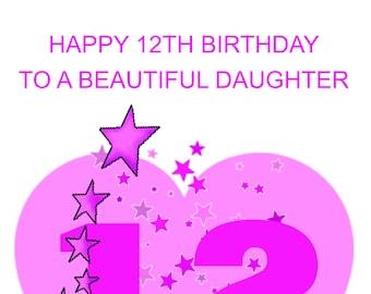 Daughter 12th Birthday Card
