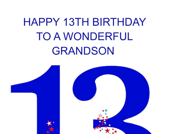 Grandson 13 Birthday Card
