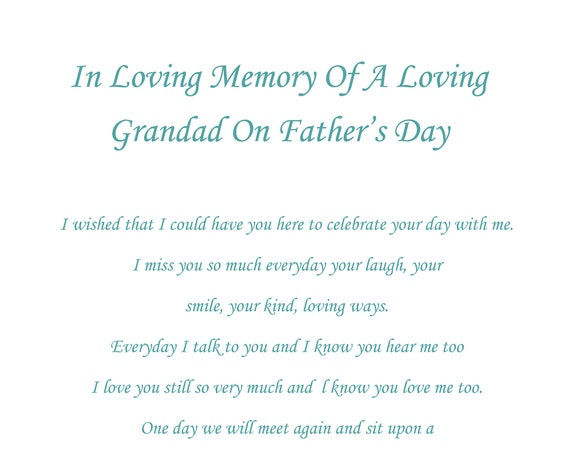Grandad In Memory Fathers Day Card
