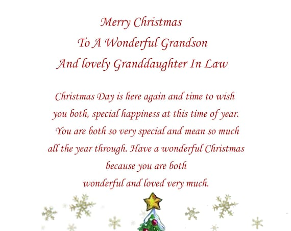 Grandson And Granddaughter In law Christmas Card Cute