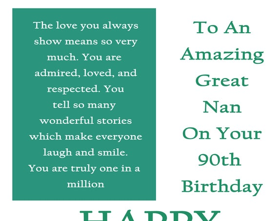 Great Nan 90 Birthday Card with removable laminate