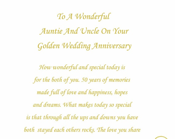 Auntie & Uncle Golden Anniversary Card