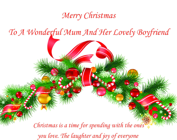 Mum And Boyfriend Christmas Card