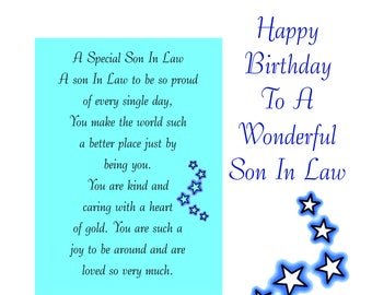 Son In Law Birthday Card With Removable Laminate