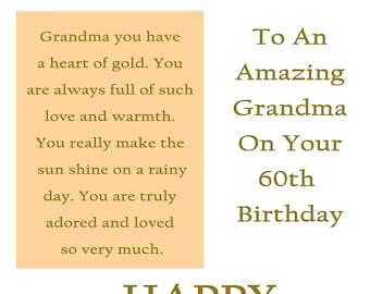 Grandma 60 Birthday Card with remvable laminate