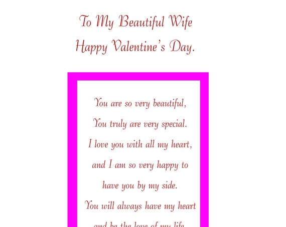 Wife Valentines card with removable laminate