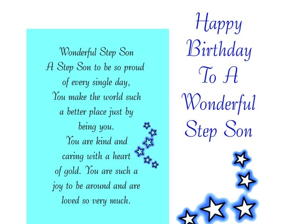 Step Son Birthday Card with removable Laminate