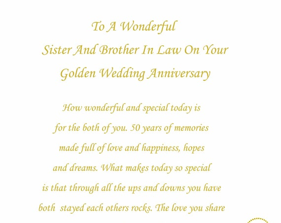 Sister & Brother in Law Golden Anniversary Card