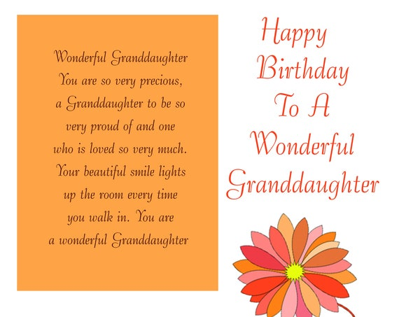 Granddaughter Birthday Card with removable laminate