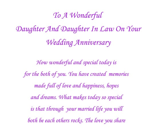 Daughter & Daughter in Law Anniversary Card