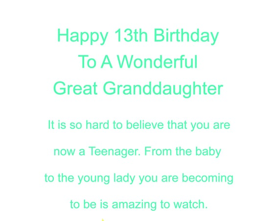 Great Granddaughter 13 Birthday Card
