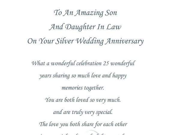 Son & Daughter in Law Silver Anniversary Card