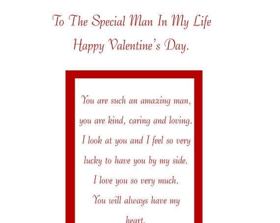 Special Man In my life valentine's card with removable laminate