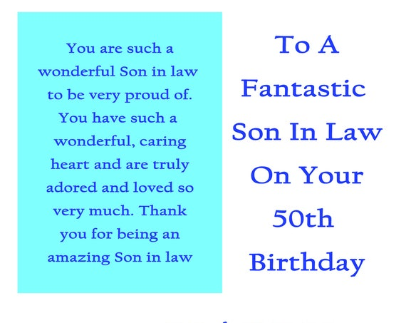 Son in Law 50 Birthday Card with removable laminate