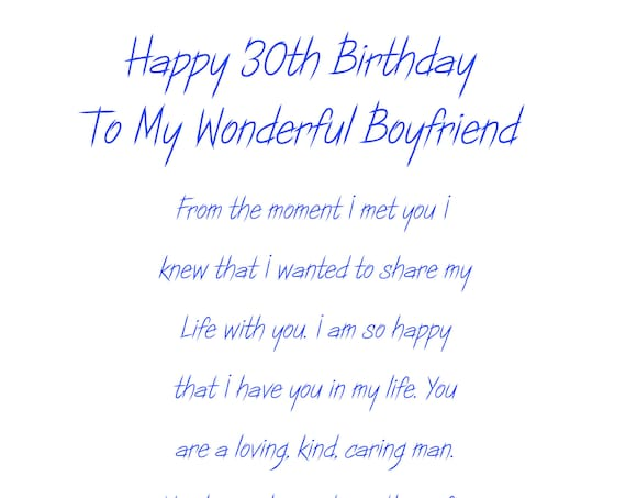 Boyfriend 30 Birthday Card