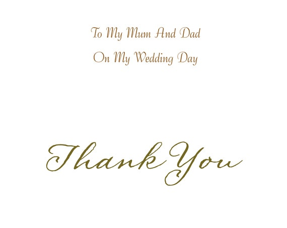 Mum And Dad From Daughter Wedding Card Thank you
