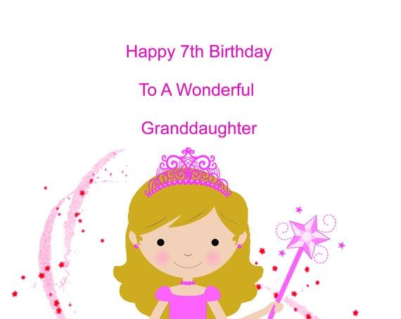 Granddaughter 7th Birthday Card