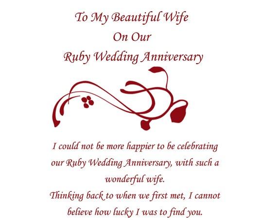 Wife Ruby Anniversary Card