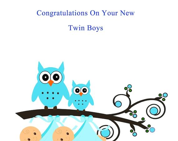 Congratulations New Twin boys card