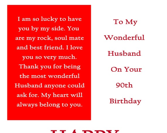 Husband 90 Birthday Card with removable laminate