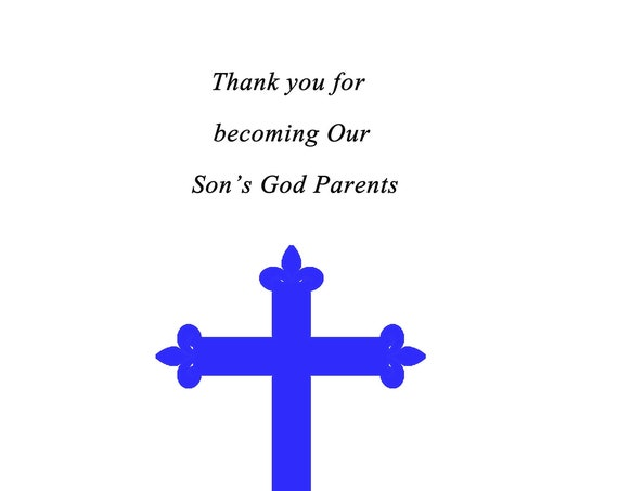 Thank you for becoming our Son's God Parents card