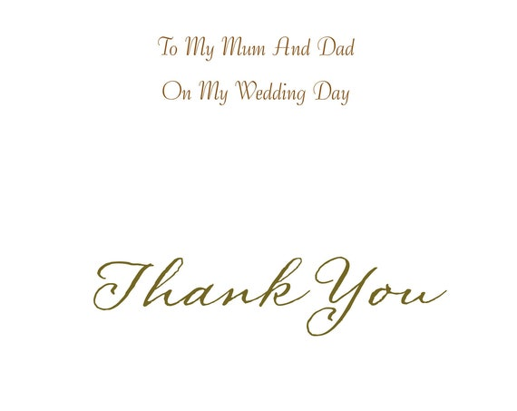 Mum And Dad From Son Wedding Card Thank you