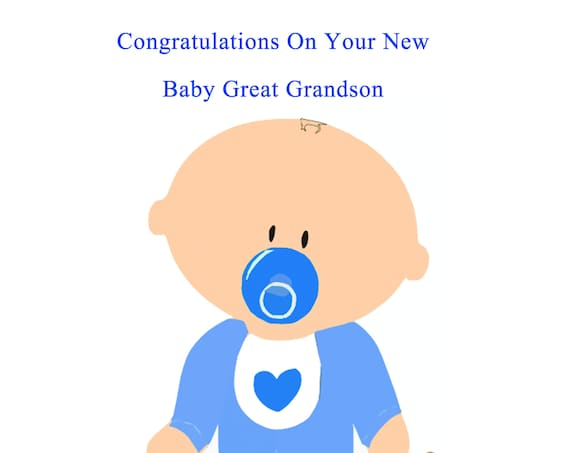 Congratulations new baby great grandson card