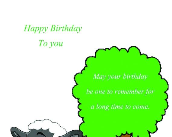 Happy Birthday card Sheep