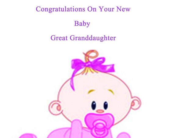 Congratulations new baby great granddaughter card