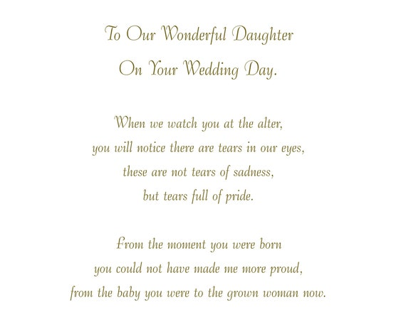 Our Daughter Wedding Card