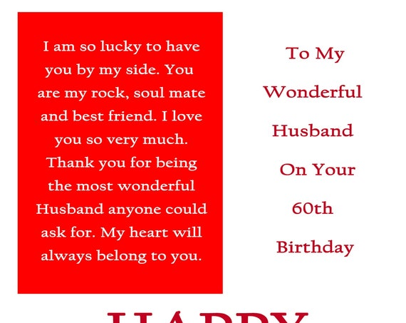 Husband 60 Birthday Card with removable laminate