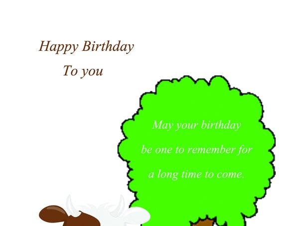 Happy Birthday Cow Card