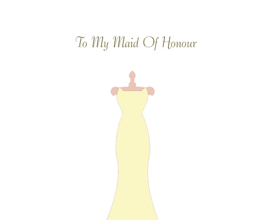Maid of honour card thank you