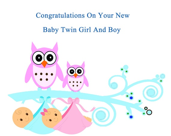 Congratulations new twin boy and girl card