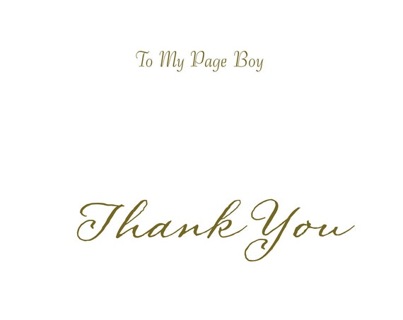 Page boy card thank you