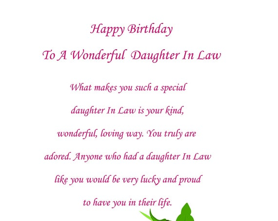 Daughter In Law birthday card (any age can be added)