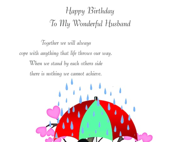 Husband birthday card.   (any age, name, date or personal message can be added)
