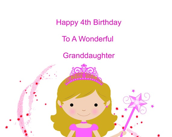Granddaughter 4th Birthday Card
