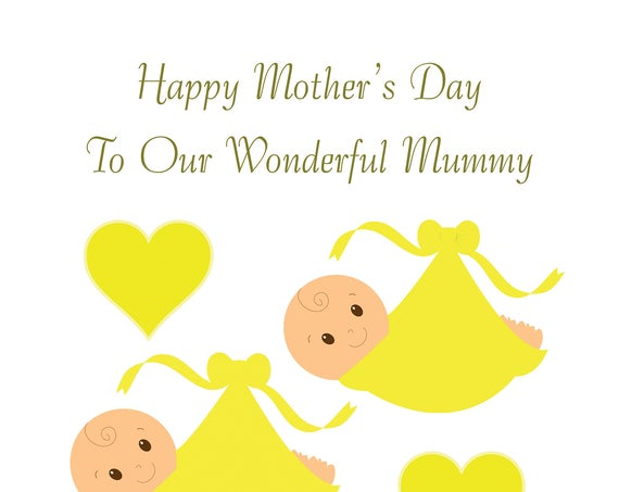 Twin Neutral Bump Mothers Day Card