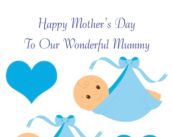 Twin Boy Bump Mothers Day Card