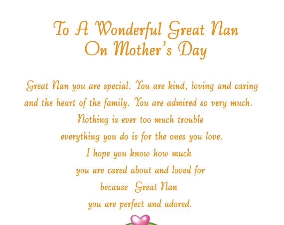 Great Nan Mothers Day Card 2